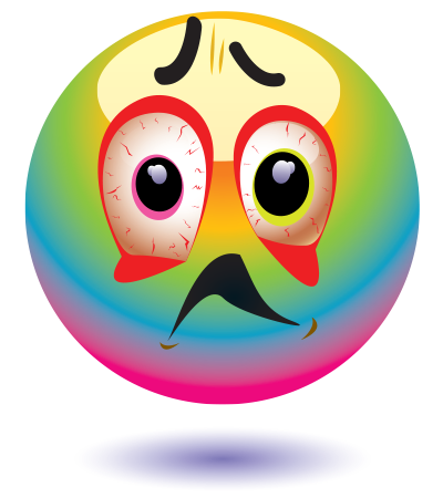 Emoticon changing colors because of fever
