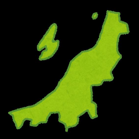 中部地方9県の地図のイラスト都道府県 かわいいフリー素材