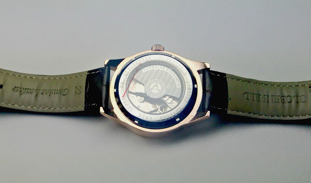 The back of the Globenfeld watch, showing the movement inside.