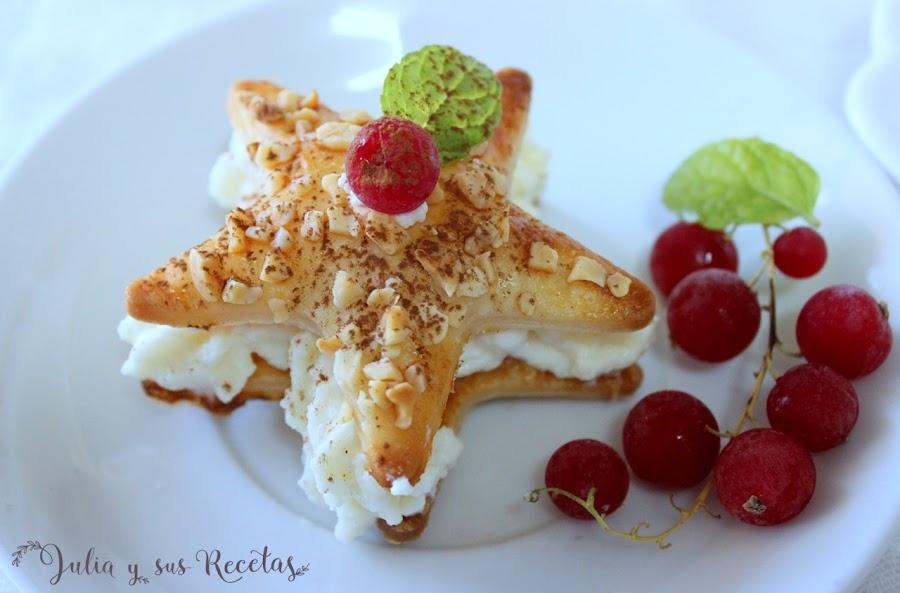 Estrellas de hojaldre con mousse de chocolate blanco . Julia y sus recetas