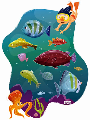 Illustration jeunesse : poissons