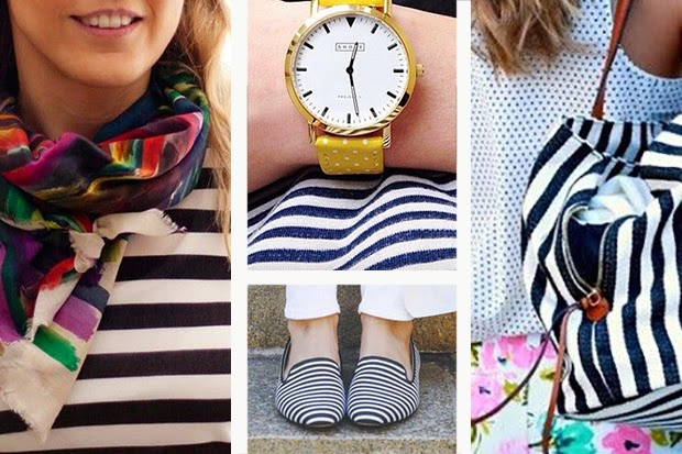 Naitical love - Style tip - Combine stripes with colorful accessories and patterns