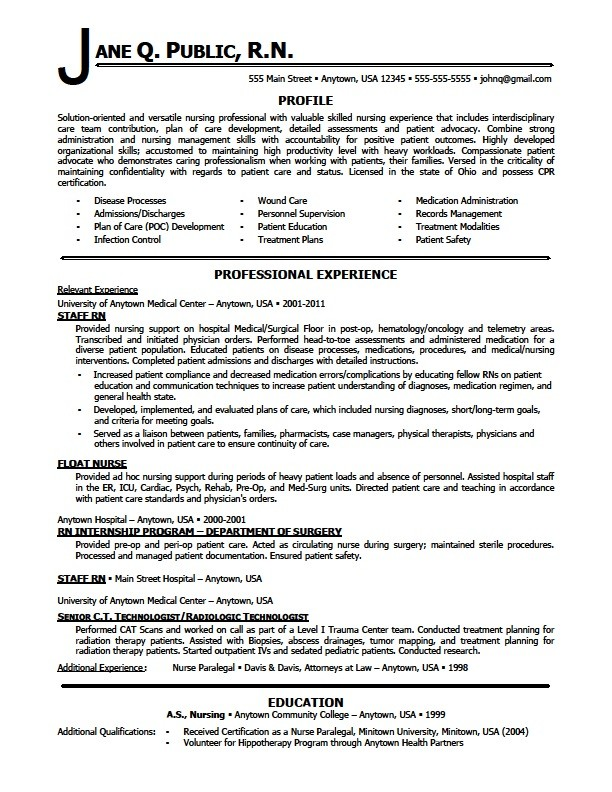 Registered Nurse Resume Sample Sample Resumes