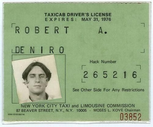Robert De Niro's taxicab license used during his meticulous preparation for the 1976 thriller, Taxi Driver