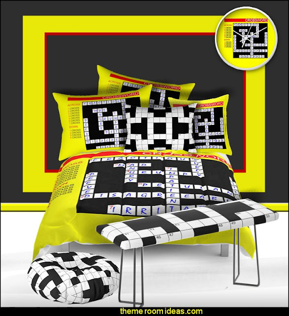 crossword bedding crossword bedroom decor  book themed decor - Bibliophiles decor - Book themed furnishings - home decor for book lovers - book themed bedroom - Stacked Books decor - Stacked Books furniture - bookworm decor - book boxes - library furniture - formal study furniture - antique book decor - unique furniture - novelty furniture - Logophile decor - scrabble themed bedroom  - Crossword bedroom decor
