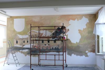 Obraz malowany na ścianie w szkole, Gdańsk