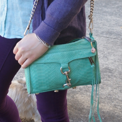 purple outfit with Rebecca Minkoff mini MAC in aquamarine with python embossed leather | AwayFromTheBlue