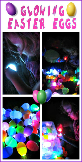 Glowing Easter Sensory Activities that have glowing plastic eggs in a bin