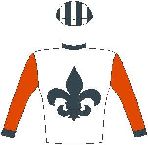 Crowd Pleaser - Silks - Owner: Messrs J F & L M F Wernars & Mrs T J Wernars - Colours: White, black fleur de lys, red sleeves, black collar and cuffs, black and white striped cap.