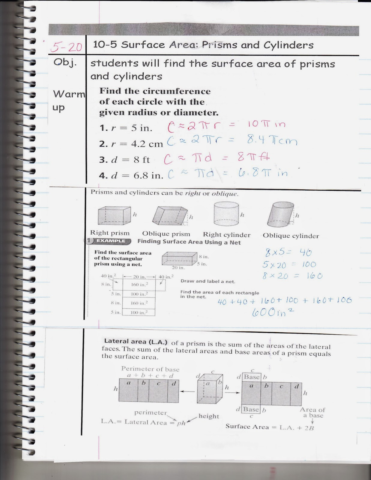 Ms Jean S Classroom Blog 10 5 Surface Area Prisms And