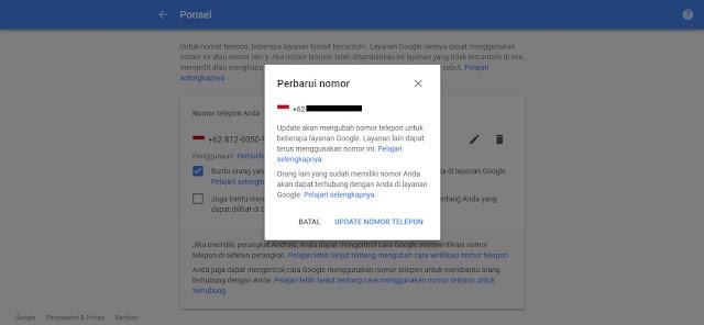 Cara Mengganti Nomor Telepon Akun Google