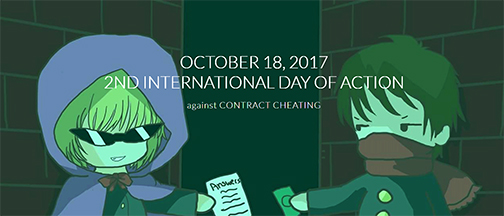 snapshot of web home page for International Day of Action against Contract Cheating.  Illustration of two little bandits exchanging money for homework.