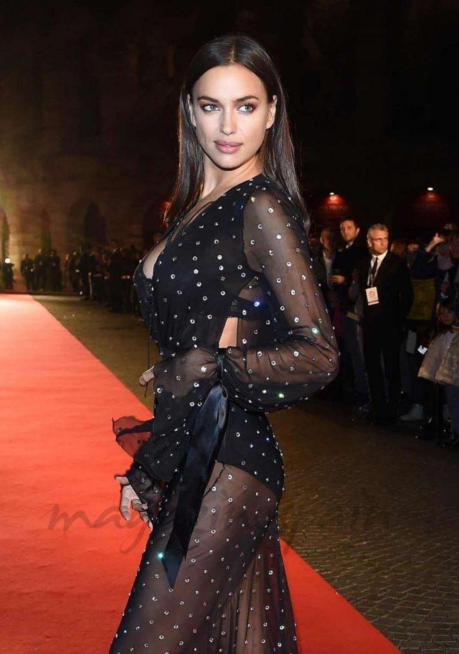 Hollywood Actress Long Hair Black Dress Irina Shayk