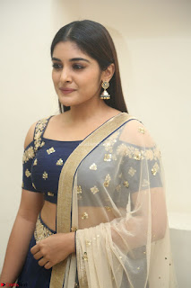 Niveda Thomas in Lovely Blue Cold Shoulder Ghagra Choli Transparent Chunni ~  Exclusive Celebrities Galleries 022
