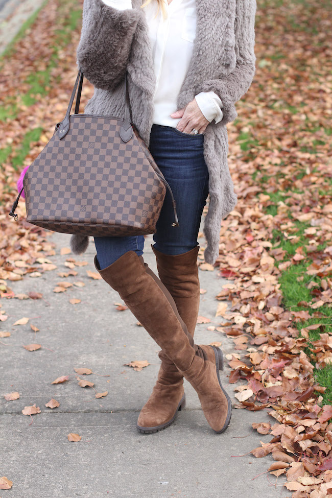 louis vuitton bag, stuart weitzman boots
