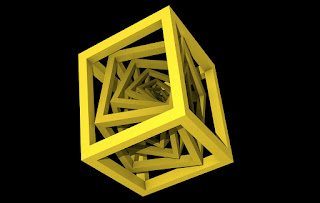 Picture: Repeating rotating and shrinking cubes