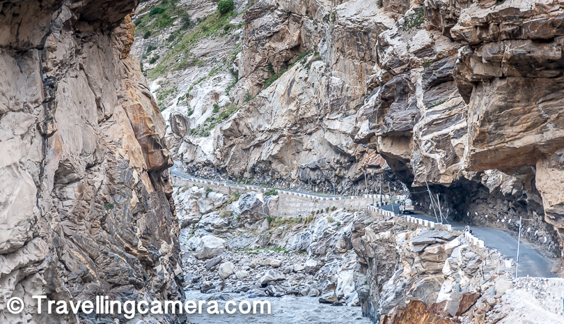 Above photograph is clicked near Khab where Setluj meets Spiti river. And this road is very scares which takes you up at very sharp inclination. And I just checked the map and it seems that National Highway no also changes to NH-505 from Nh-5.