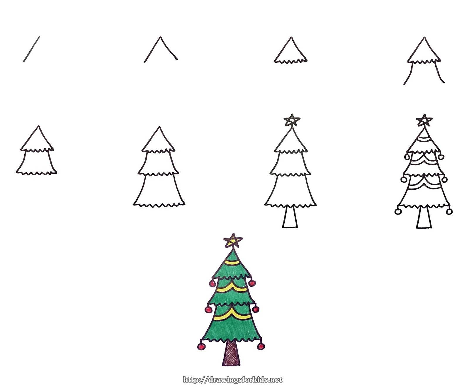 How to draw a Christmas tree for kids - STEP BY STEP - drawingsforkids.net