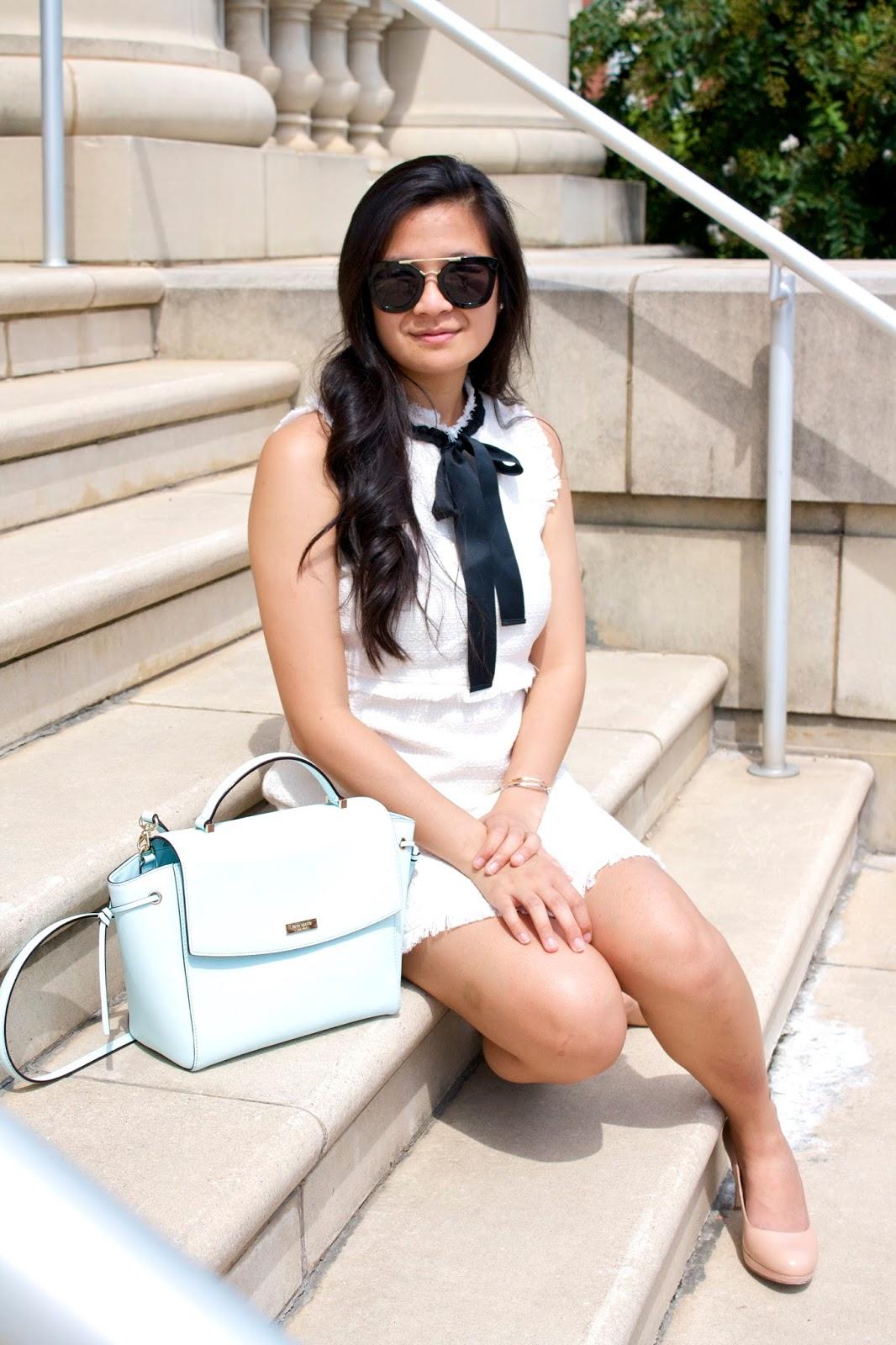 White tweed dress