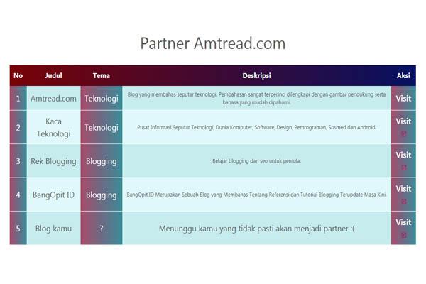 Cara Membuat Halaman Partner keren Seperti Amtread