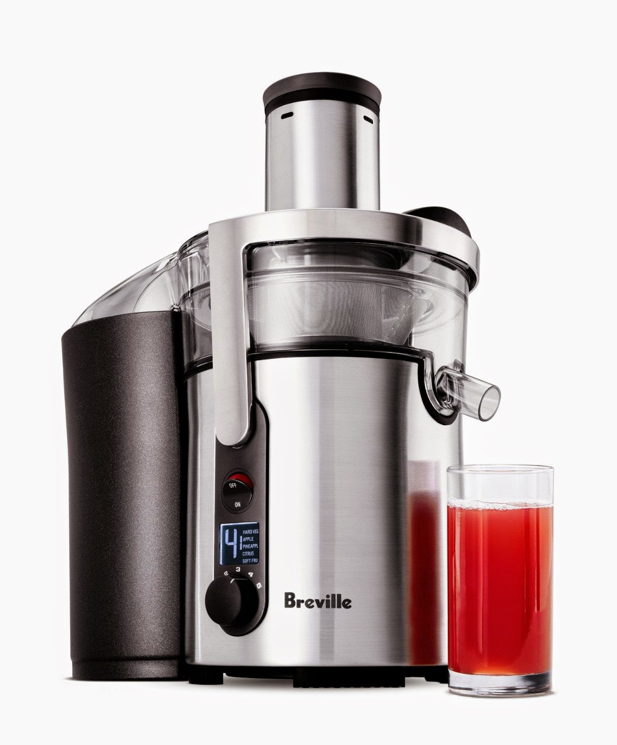Breville BJE510XL Multi-Speed Juicer, variable 5-speeds, centrifugal juicer, smart chip senses loads and auto adjusts power, 900 watt motor