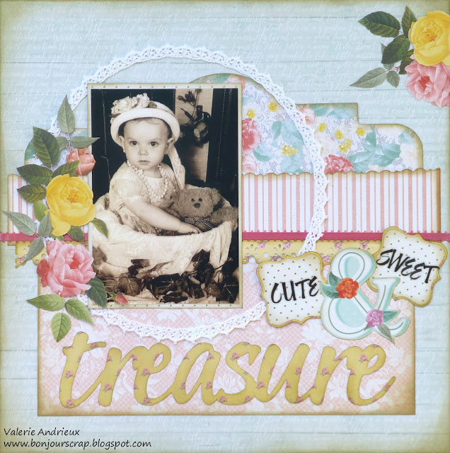 Shabby / vintage country scrapbooking layout with DCWV papers
