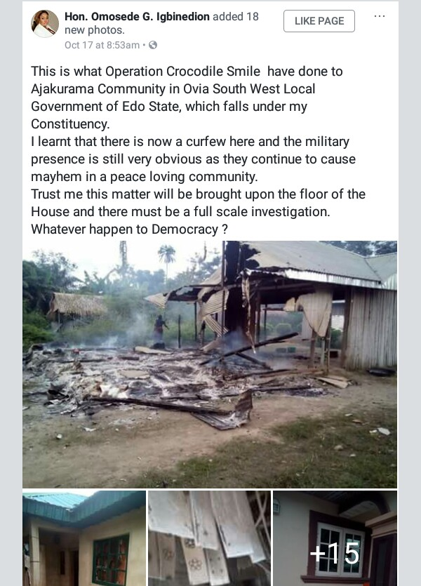 "Operation Crocodile Smile: ""Whatever happened to Democracy?"" - Hon. Omosede Igbinedion cries out over alleged invasion, destruction of Edo community by troops"