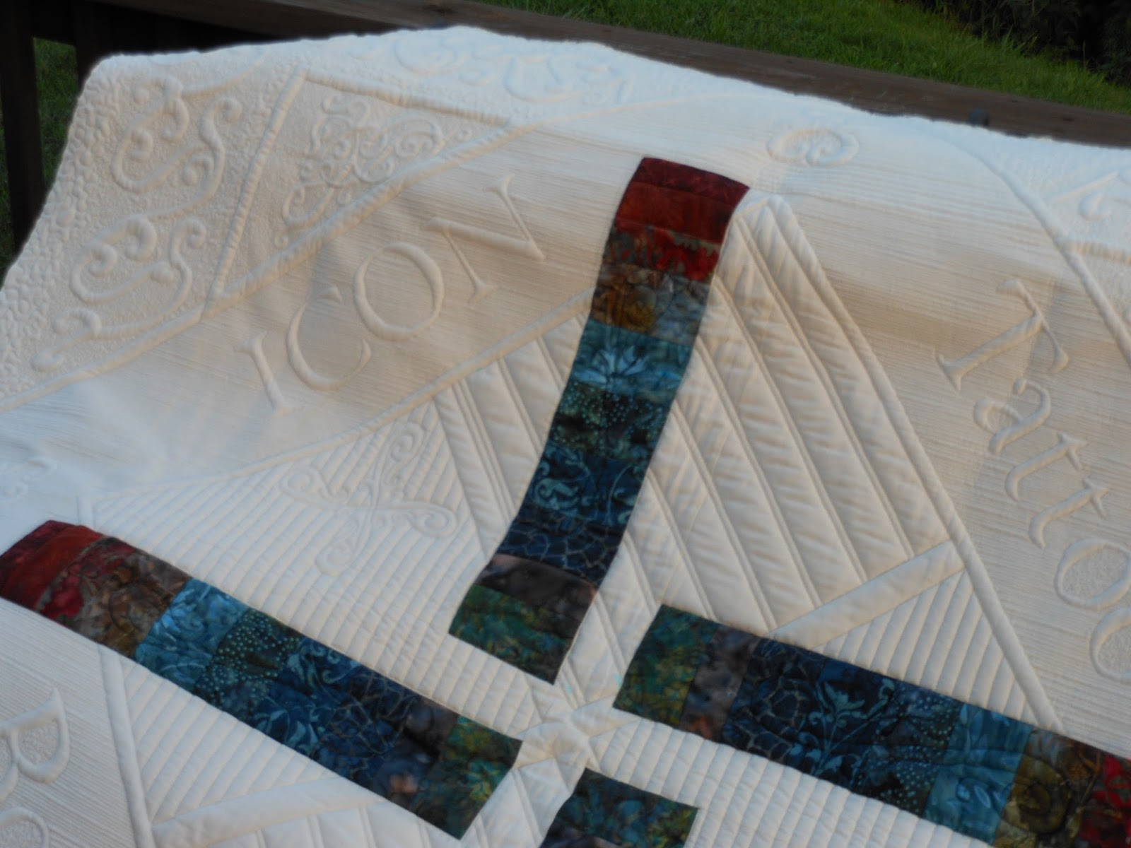 I dew quilting: Son's quilt finished