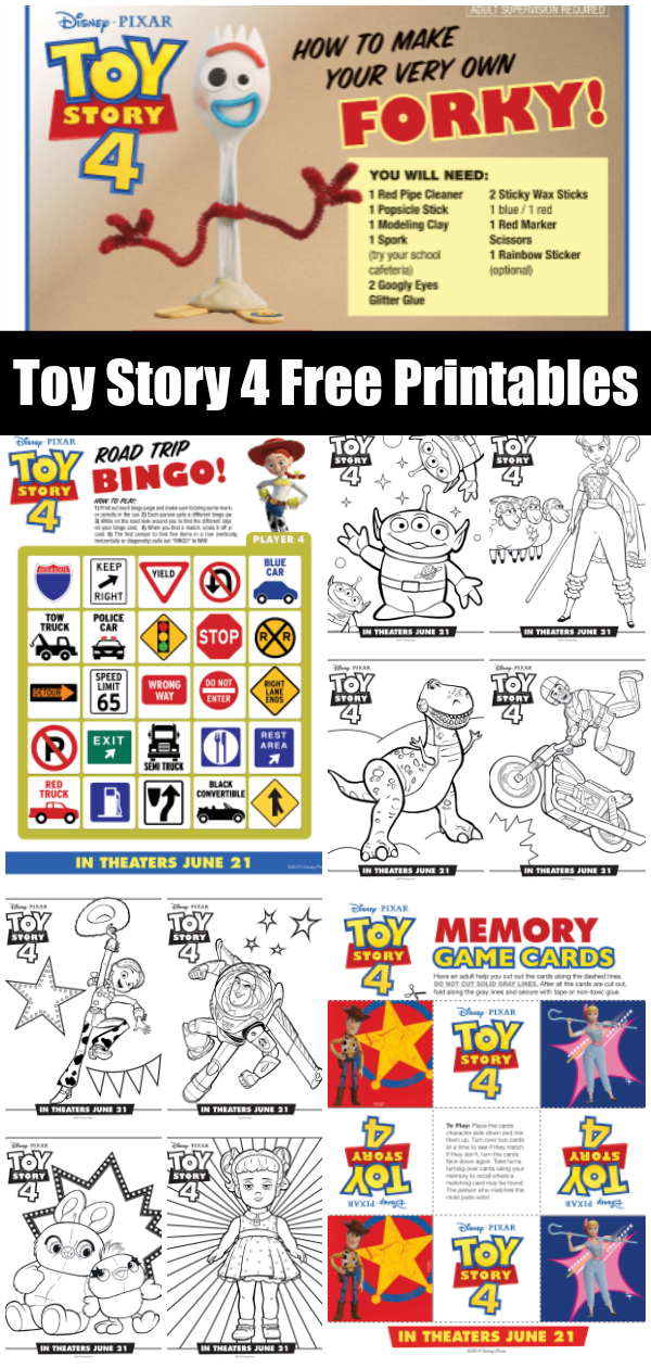 Toy Story 4 Free Printables coloring sheets, activity pages, and recipes