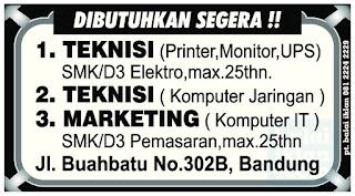 Lowongan Kerja Teknisi Komputer di Bandung