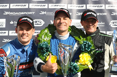 2018 Caterham Roadsport Race 14 podium (l-r) Oli Pratt P2, Me! P1! and Neil Frazer P3.