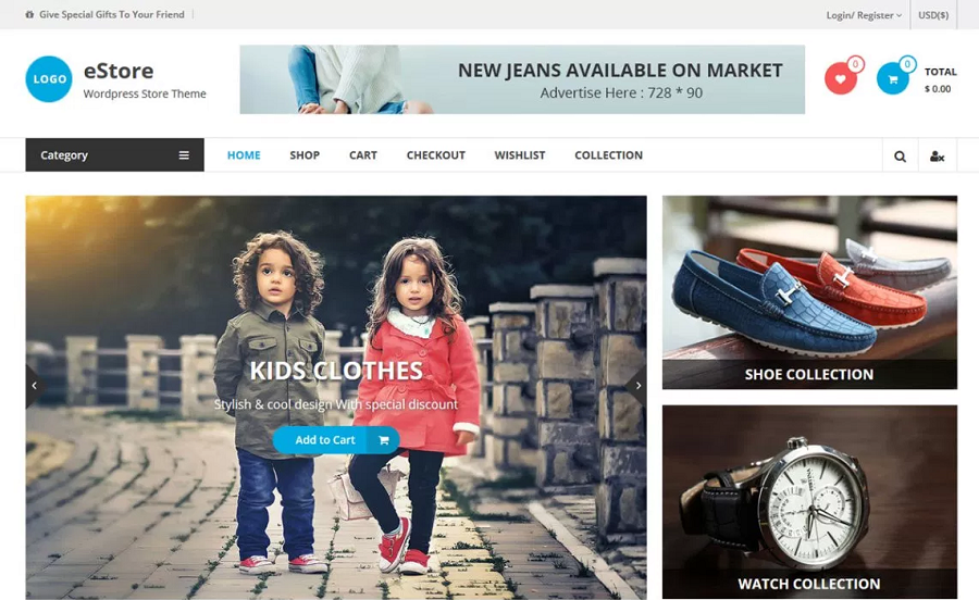 eStore Responsive eCommerce WordPress Theme