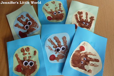 Simple reindeer handprint Christmas cards