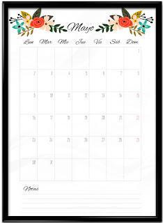 Calendario mayo imprimible
