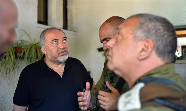 Avigdor Liberman at the scene of the attack