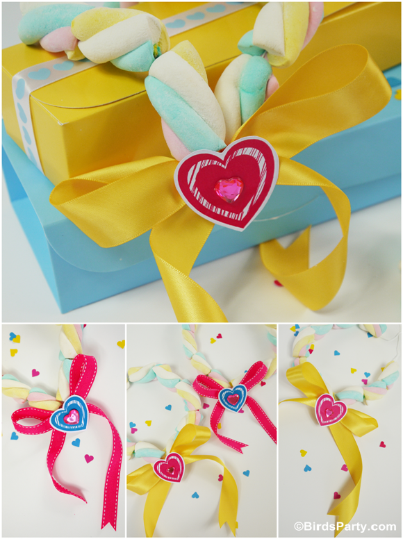 Valentine's Crafts for Kids | DIY Marshmallow Necklace - BirdsParty.com
