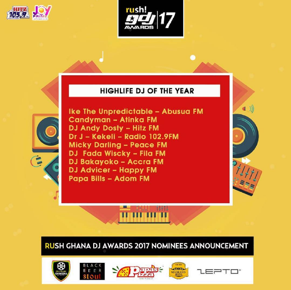 Check out the full list of nominees of Ghana Dj Awards 2017 - EOnlineGH.Com