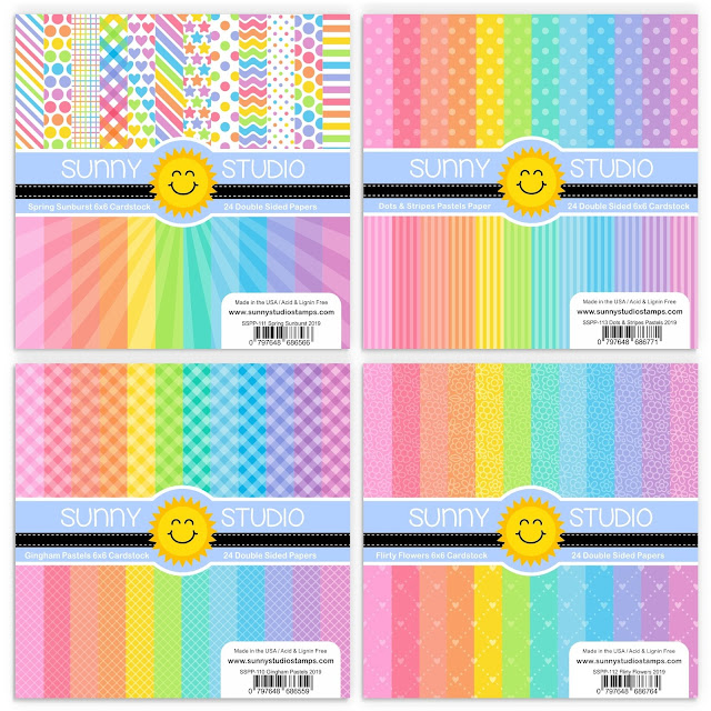 Sunny Studio Stamps: Introducing 4 New Spring 6x6 Paper Packs (Spring Sunburst, Dots & Stripes Pastels, Gingham Pastels & Flirty Flowers)