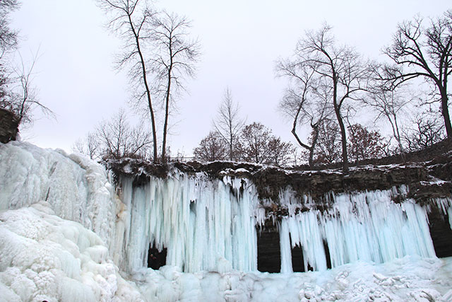 Minnesota frozen waterfall - opt outside