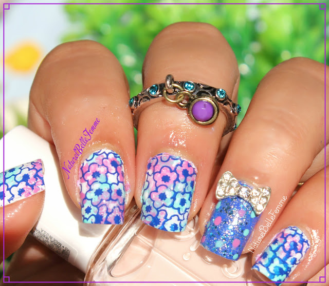 Blue flower stamping