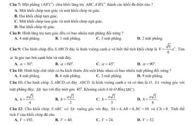 12 đề kiểm tra chương 1 hình học 12 - khối đa diện