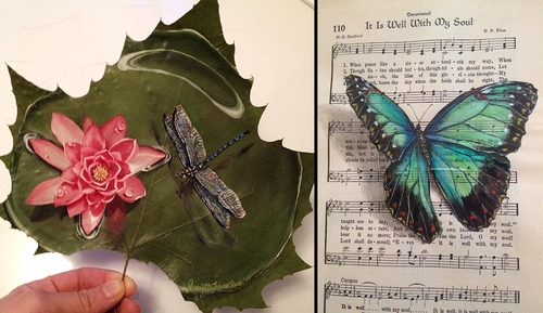 00-Janette-Rose-Painting-on-Leafs-+-Butterfly-Painting-on-Sheet-Music-www-designstack-co