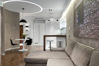 elegant modern open kitchen and living room design idea