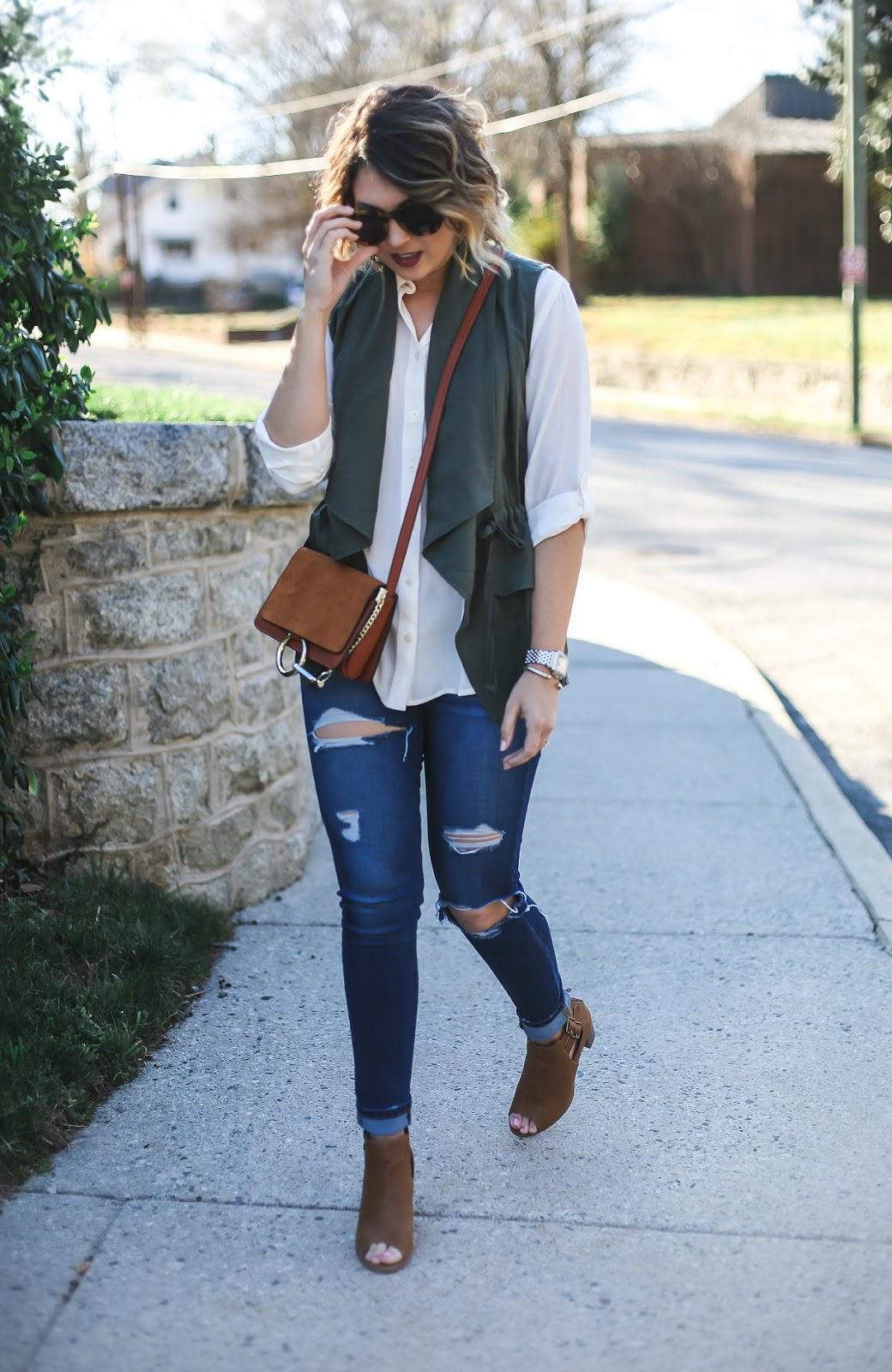 loft utility blouse, white button up, chloe faye