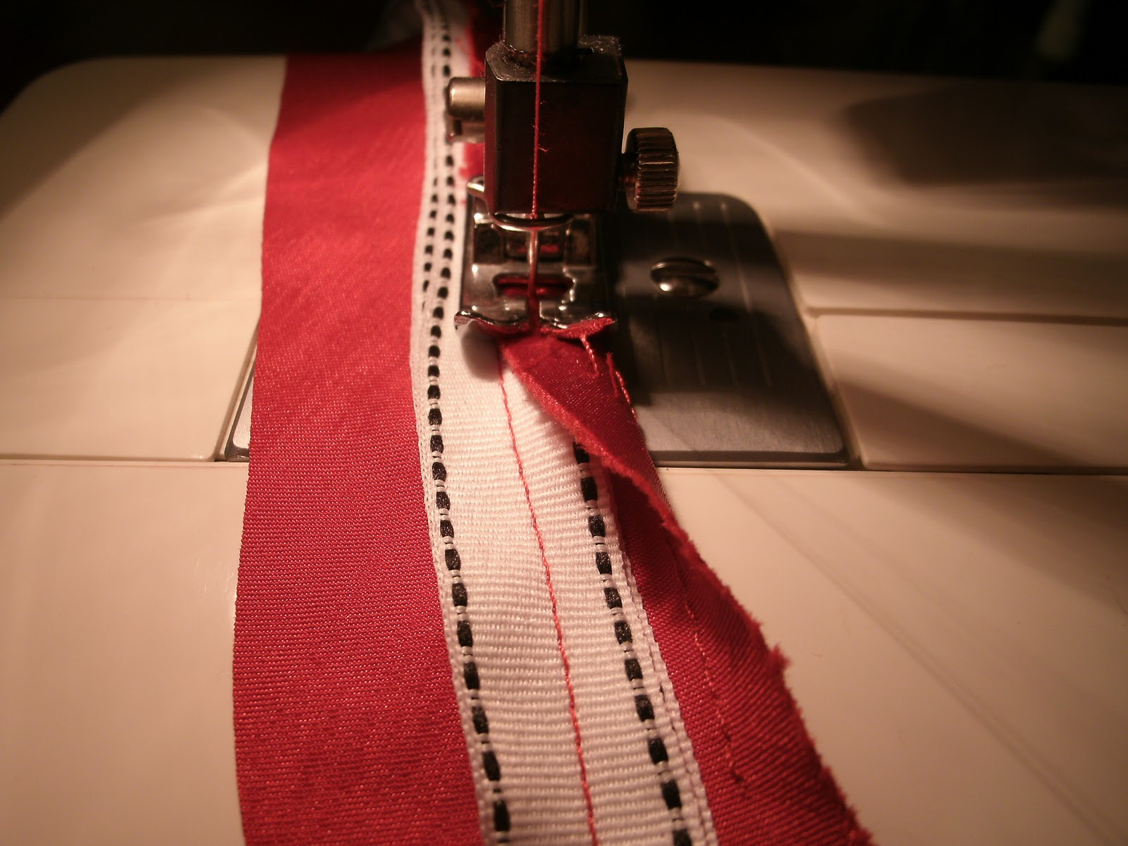 1979fb162f Next I cut base frabric strips twice as wide as the ribbon straps to ensure  I have enough to wrap around the edges. I machine sew the base fabric along  each ...
