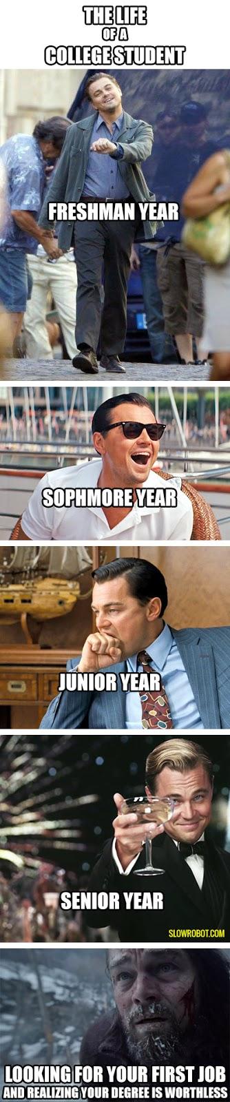 Leonardo Di Caprio funny college strip