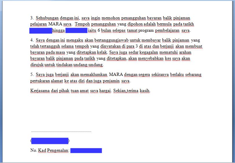 Ighoh: Contoh surat penangguhan bayar pinjaman MARA