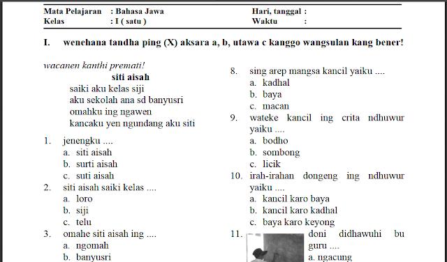 contoh soal anak sd kelas 1 Bahasa Jawa