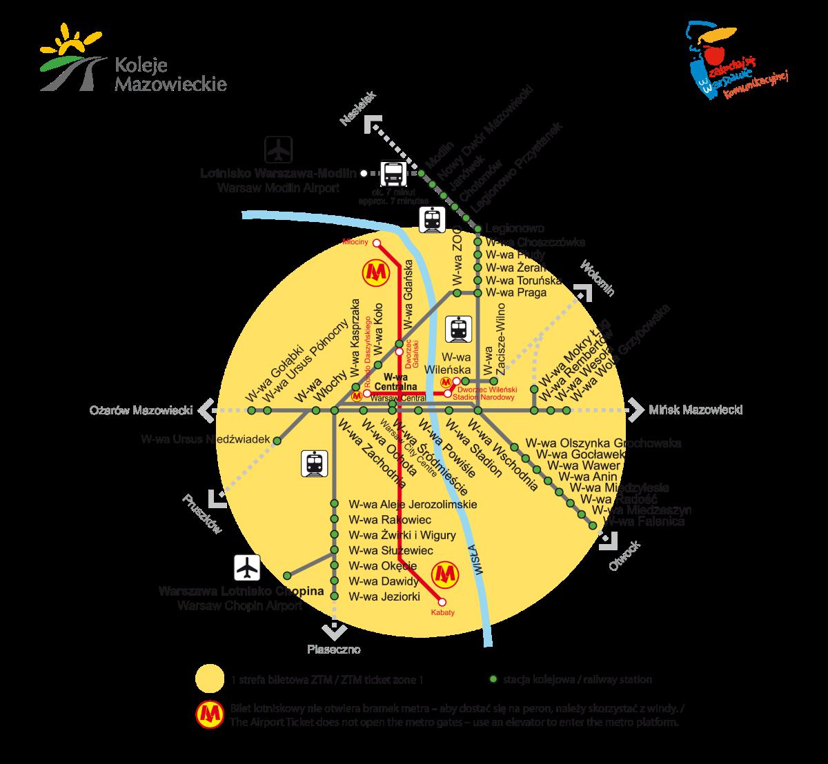 dojazd z Warszawy na lotnisko w Modlinie - schemat ZTM Strefa 1