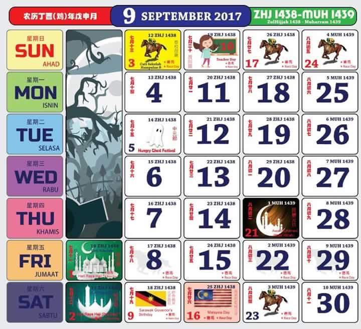 Gambar Kalendar 2017 Berserta Cuti Sekolah dan cuti umum september